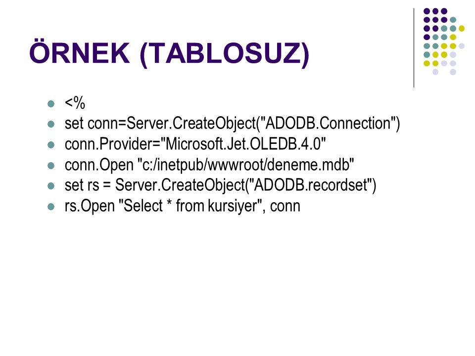 ÖRNEK (TABLOSUZ) <% set conn=Server.CreateObject( ADODB.Connection ) conn.Provider= Microsoft.Jet.OLEDB.4.0 conn.Open c:/inetpub/wwwroot/deneme.mdb set rs = Server.CreateObject( ADODB.recordset ) rs.Open Select * from kursiyer , conn