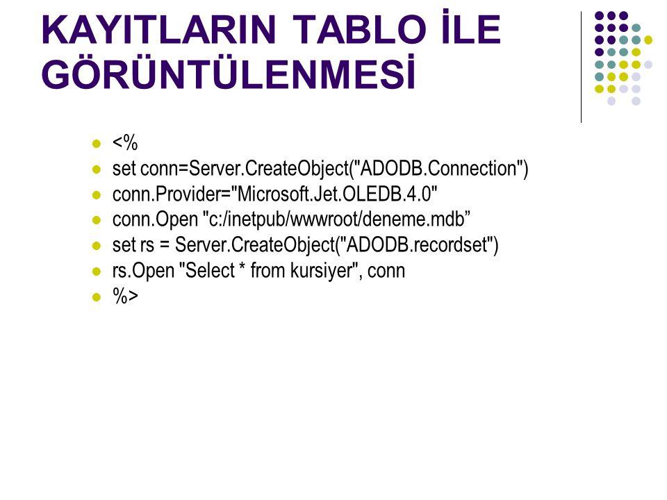 KAYITLARIN TABLO İLE GÖRÜNTÜLENMESİ <% set conn=Server.CreateObject( ADODB.Connection ) conn.Provider= Microsoft.Jet.OLEDB.4.0 conn.Open c:/inetpub/wwwroot/deneme.mdb set rs = Server.CreateObject( ADODB.recordset ) rs.Open Select * from kursiyer , conn %>