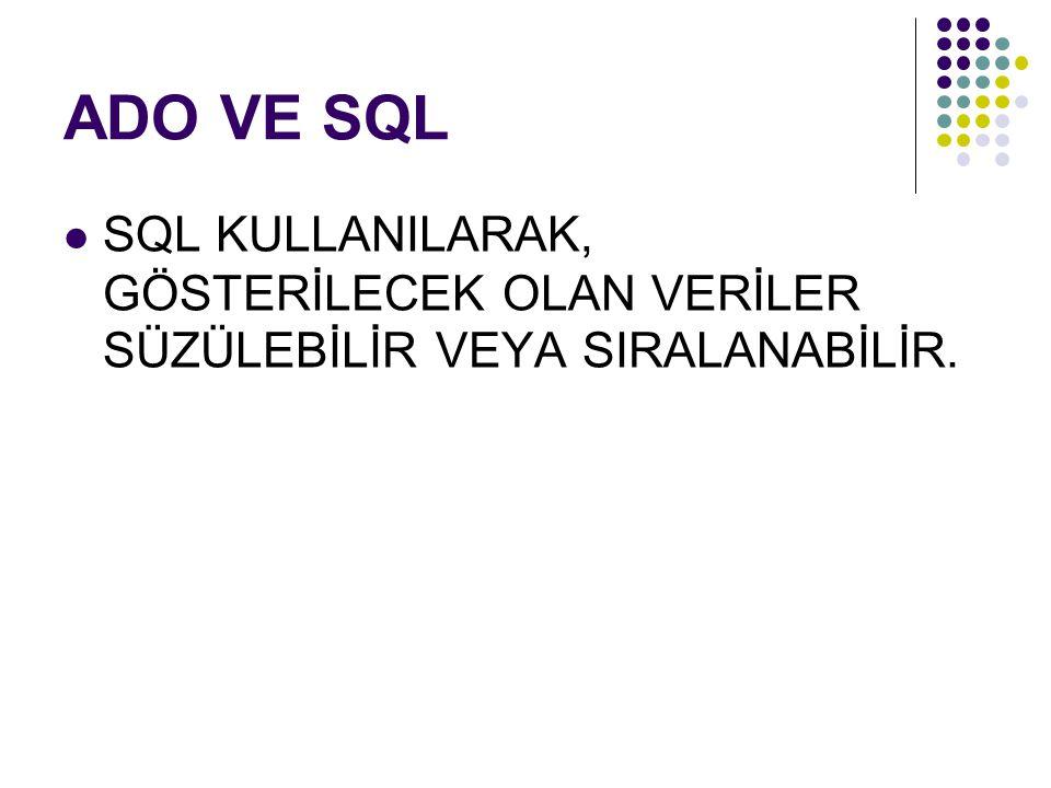 ADO VE SQL SQL KULLANILARAK, GÖSTERİLECEK OLAN VERİLER SÜZÜLEBİLİR VEYA SIRALANABİLİR.