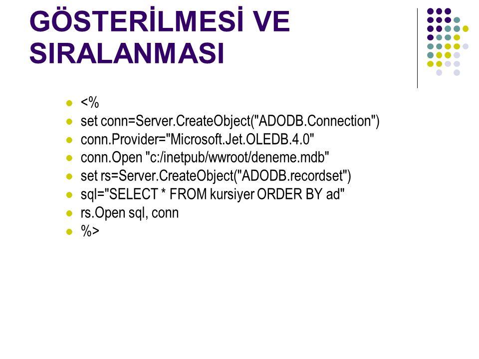 İSTENİLEN VERİLERİN GÖSTERİLMESİ VE SIRALANMASI <% set conn=Server.CreateObject( ADODB.Connection ) conn.Provider= Microsoft.Jet.OLEDB.4.0 conn.Open c:/inetpub/wwroot/deneme.mdb set rs=Server.CreateObject( ADODB.recordset ) sql= SELECT * FROM kursiyer ORDER BY ad rs.Open sql, conn %>