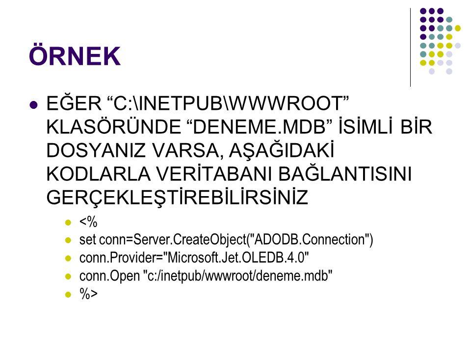 ÖRNEK EĞER C:\INETPUB\WWWROOT KLASÖRÜNDE DENEME.MDB İSİMLİ BİR DOSYANIZ VARSA, AŞAĞIDAKİ KODLARLA VERİTABANI BAĞLANTISINI GERÇEKLEŞTİREBİLİRSİNİZ <% set conn=Server.CreateObject( ADODB.Connection ) conn.Provider= Microsoft.Jet.OLEDB.4.0 conn.Open c:/inetpub/wwwroot/deneme.mdb %>