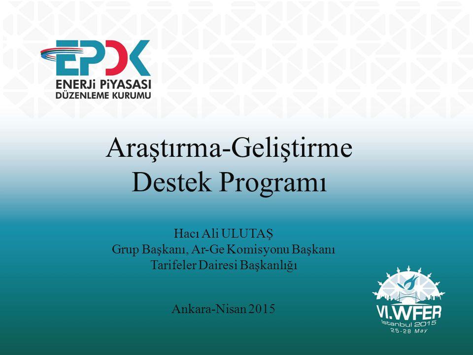 Araştırma-Geliştirme Destek Programı Hacı Ali ULUTAŞ Grup Başkanı, Ar-Ge Komisyonu Başkanı Tarifeler Dairesi Başkanlığı Ankara-Nisan 2015