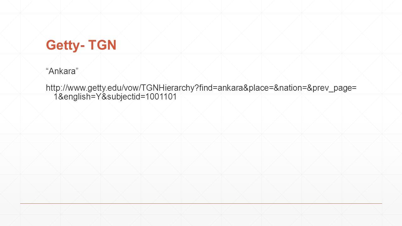 "Getty- TGN ""Ankara"" http://www.getty.edu/vow/TGNHierarchy?find=ankara&place=&nation=&prev_page= 1&english=Y&subjectid=1001101"