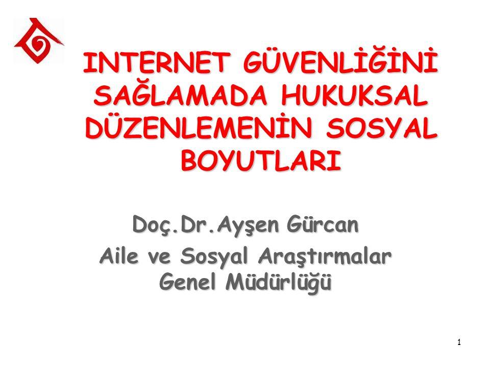 1 INTERNET GÜVENLİĞİNİ SAĞLAMADA HUKUKSAL DÜZENLEMENİN SOSYAL BOYUTLARI Doç.Dr.Ayşen Gürcan Aile ve Sosyal Araştırmalar Genel Müdürlüğü