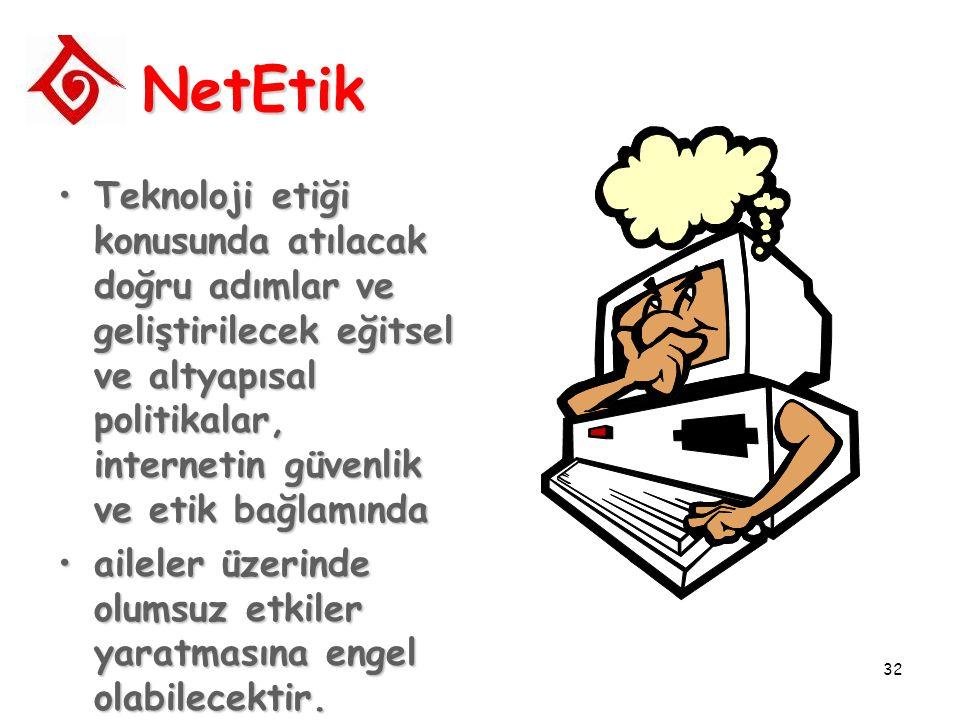 32 NetEtik Teknoloji etiği konusunda atılacak doğru adımlar ve geliştirilecek eğitsel ve altyapısal politikalar, internetin güvenlik ve etik bağlamınd