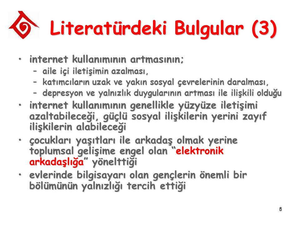 8 Literatürdeki Bulgular (3) internet kullanımının artmasının;internet kullanımının artmasının; –aile içi iletişimin azalması, –katımcıların uzak ve y