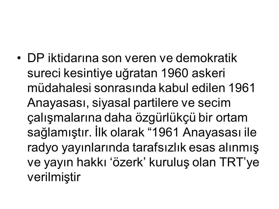 DP iktidarına son veren ve demokratik sureci kesintiye uğratan 1960 askeri müdahalesi sonrasında kabul edilen 1961 Anayasası, siyasal partilere ve secim çalışmalarına daha özgürlükçü bir ortam sağlamıştır.