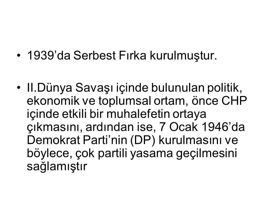 1939'da Serbest Fırka kurulmuştur.