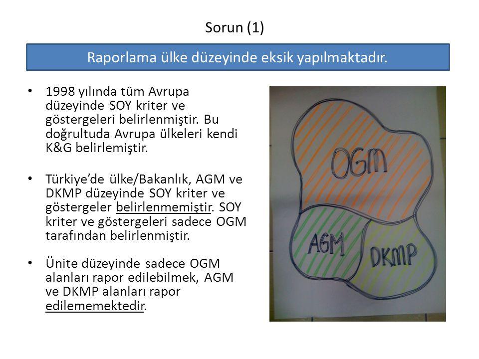 Sorun (1) 1998 yılında tüm Avrupa düzeyinde SOY kriter ve göstergeleri belirlenmiştir. Bu doğrultuda Avrupa ülkeleri kendi K&G belirlemiştir. Türkiye'