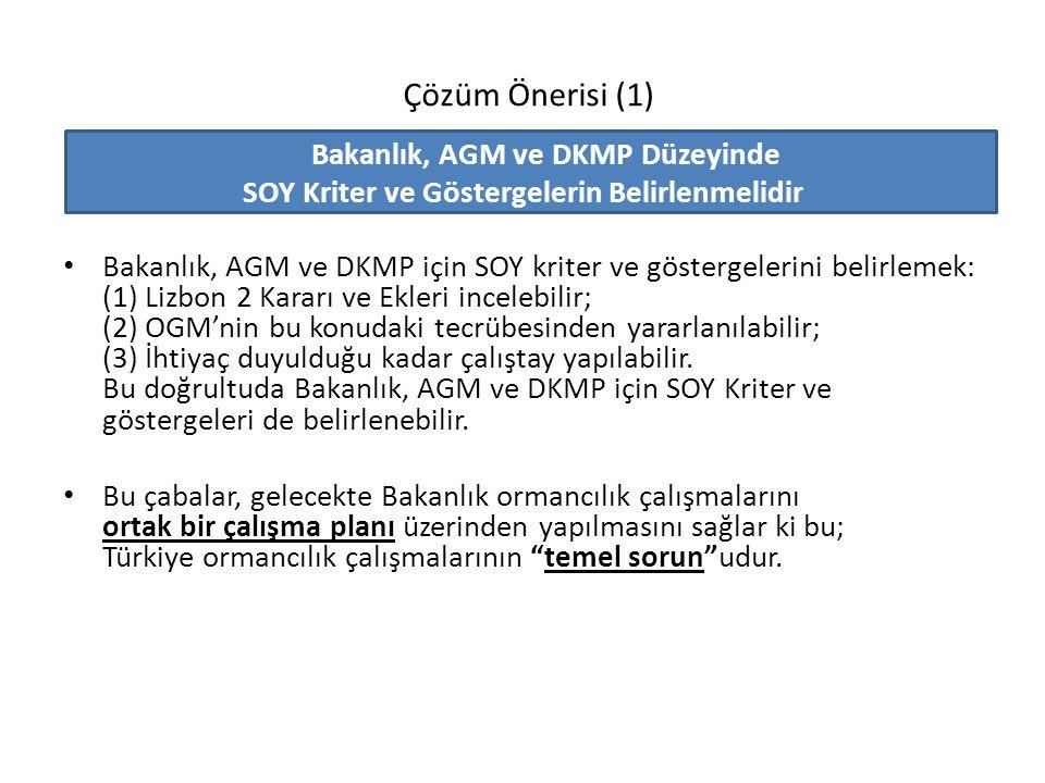 Çözüm Önerisi (1) Bakanlık, AGM ve DKMP Düzeyinde SOY Kriter ve Göstergelerin Belirlenmelidir Bakanlık, AGM ve DKMP için SOY kriter ve göstergelerini