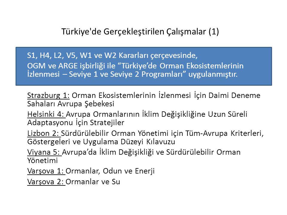 """Türkiye'de Gerçekleştirilen Çalışmalar (1) S1, H4, L2, V5, W1 ve W2 Kararları çerçevesinde, OGM ve ARGE işbirliği ile """"Türkiye'de Orman Ekosistemlerin"""