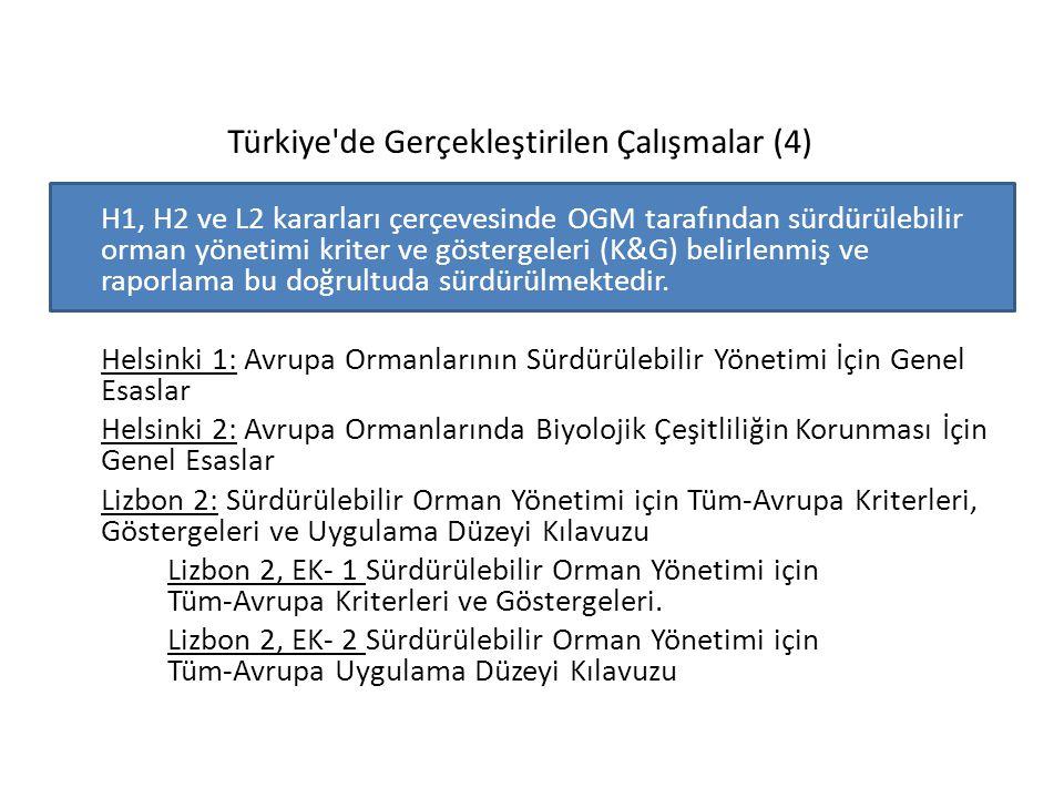 Türkiye'de Gerçekleştirilen Çalışmalar (4) H1, H2 ve L2 kararları çerçevesinde OGM tarafından sürdürülebilir orman yönetimi kriter ve göstergeleri (K&