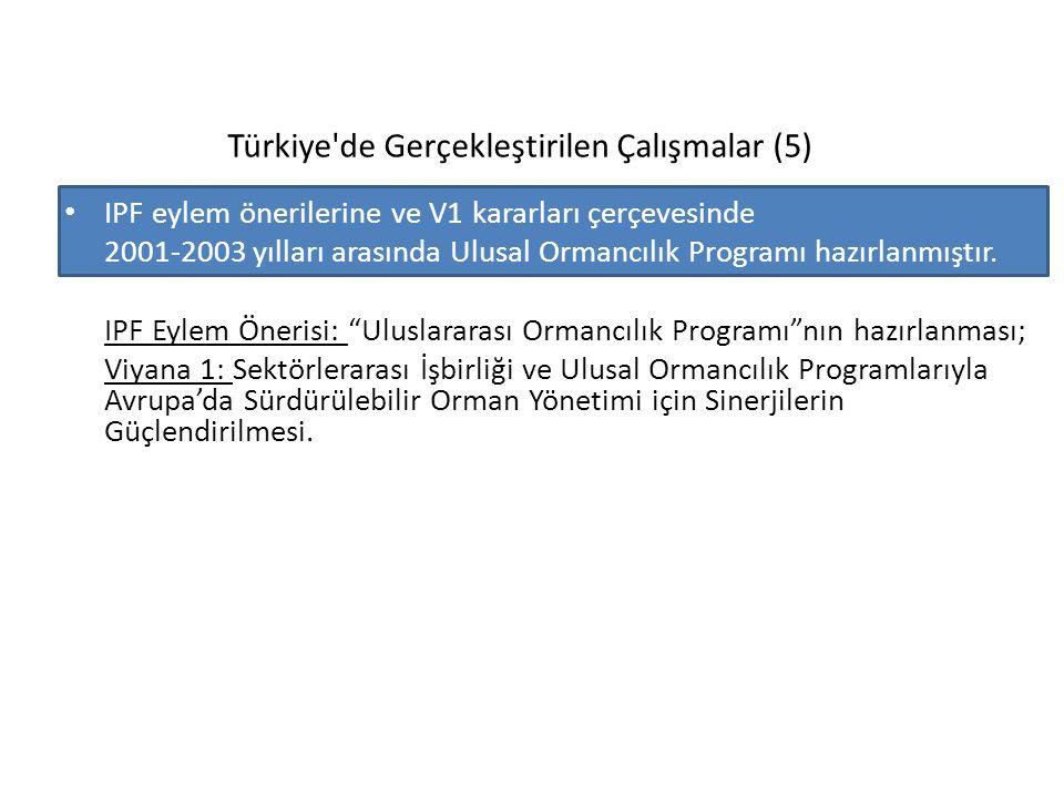 Türkiye'de Gerçekleştirilen Çalışmalar (5) IPF eylem önerilerine ve V1 kararları çerçevesinde 2001-2003 yılları arasında Ulusal Ormancılık Programı ha