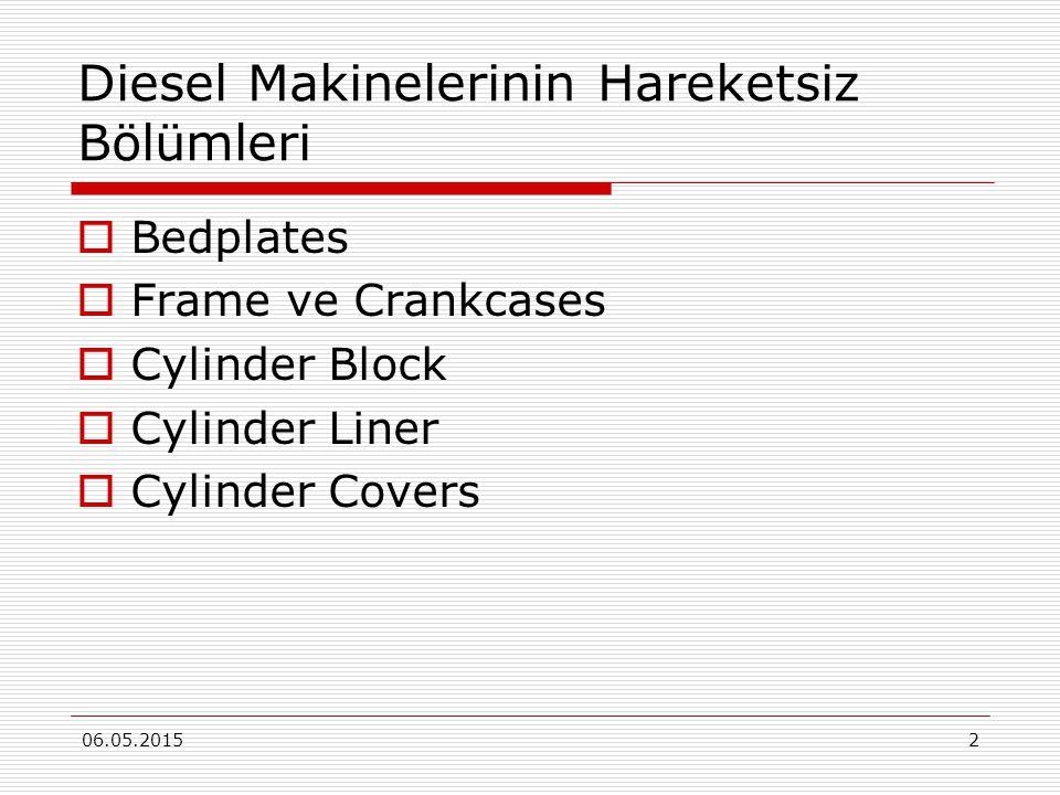 06.05.20152 Diesel Makinelerinin Hareketsiz Bölümleri  Bedplates  Frame ve Crankcases  Cylinder Block  Cylinder Liner  Cylinder Covers