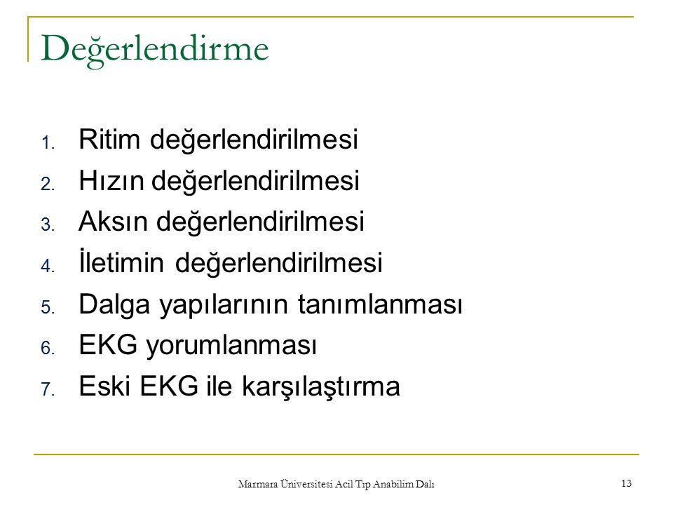 Marmara Üniversitesi Acil Tıp Anabilim Dalı 13 Değerlendirme 1. Ritim değerlendirilmesi 2. Hızın değerlendirilmesi 3. Aksın değerlendirilmesi 4. İleti