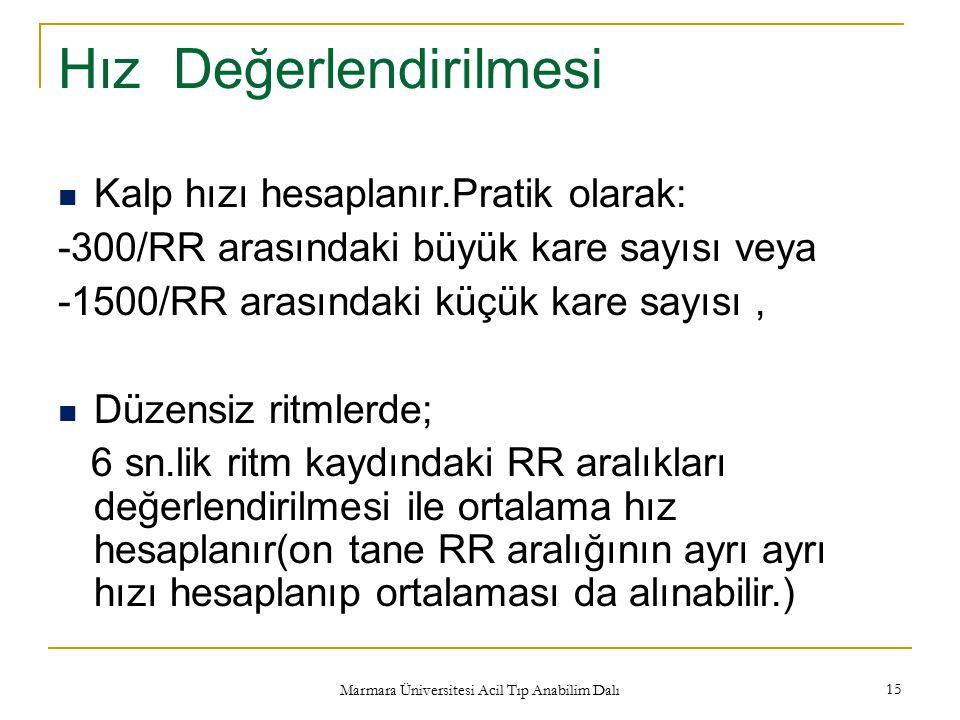 Marmara Üniversitesi Acil Tıp Anabilim Dalı 15 Hız Değerlendirilmesi Kalp hızı hesaplanır.Pratik olarak: -300/RR arasındaki büyük kare sayısı veya -15
