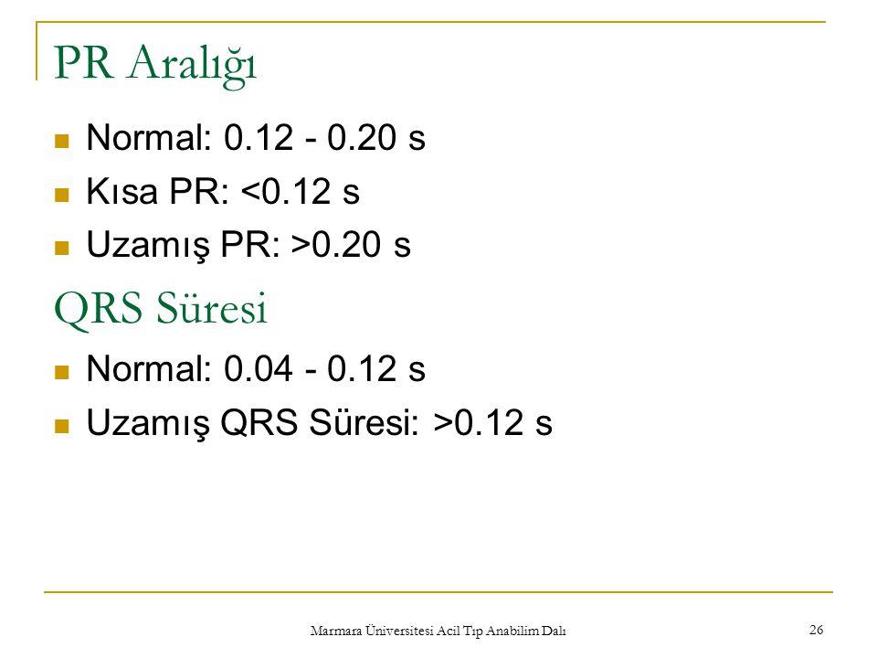 Marmara Üniversitesi Acil Tıp Anabilim Dalı 26 PR Aralığı Normal: 0.12 - 0.20 s Kısa PR: <0.12 s Uzamış PR: >0.20 s QRS Süresi Normal: 0.04 - 0.12 s U