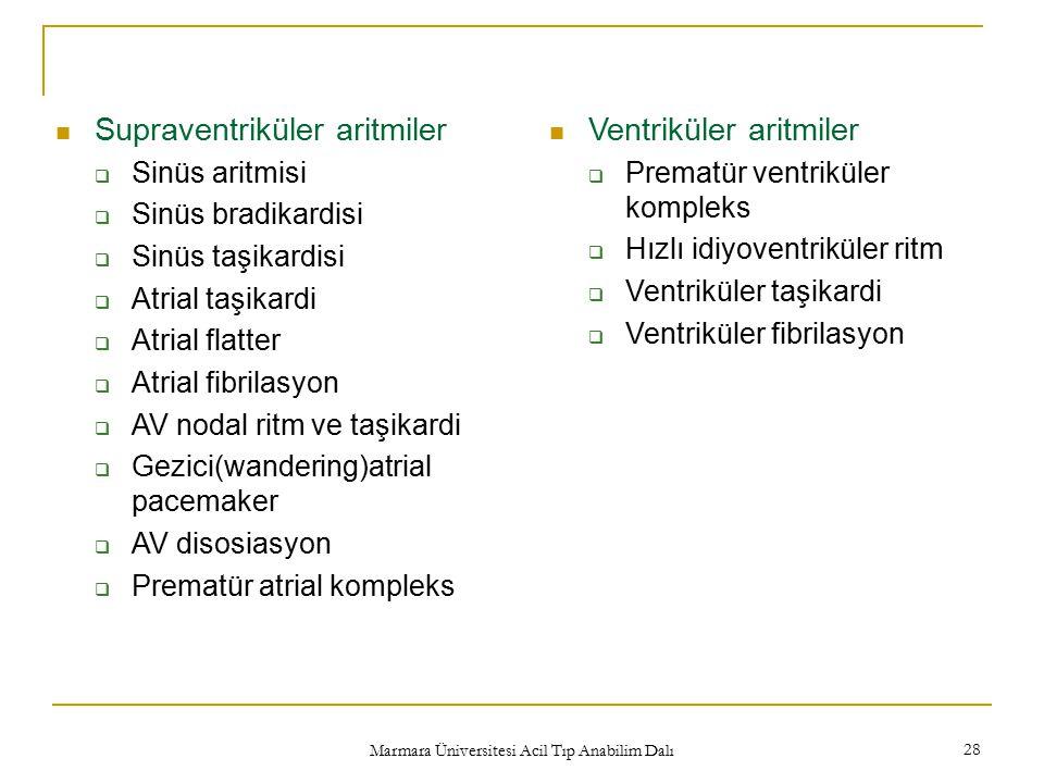 Marmara Üniversitesi Acil Tıp Anabilim Dalı 28 Supraventriküler aritmiler  Sinüs aritmisi  Sinüs bradikardisi  Sinüs taşikardisi  Atrial taşikardi