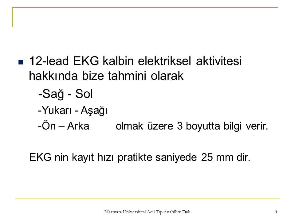 Marmara Üniversitesi Acil Tıp Anabilim Dalı 3 12-lead EKG kalbin elektriksel aktivitesi hakkında bize tahmini olarak -Sağ - Sol -Yukarı - Aşağı -Ön –