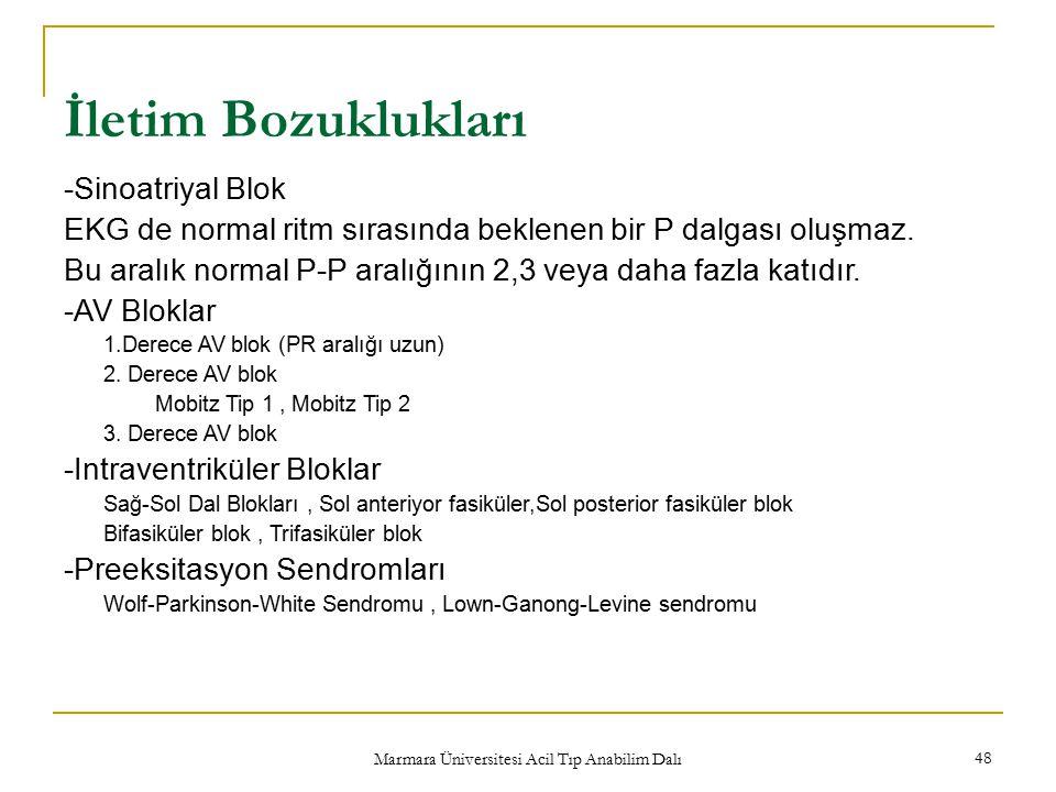 Marmara Üniversitesi Acil Tıp Anabilim Dalı 48 İletim Bozuklukları -Sinoatriyal Blok EKG de normal ritm sırasında beklenen bir P dalgası oluşmaz.