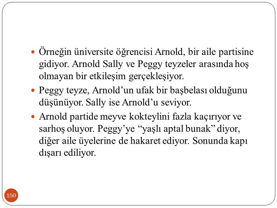 150 Örneğin üniversite öğrencisi Arnold, bir aile partisine gidiyor. Arnold Sally ve Peggy teyzeler arasında hoş olmayan bir etkileşim gerçekleşiyor.