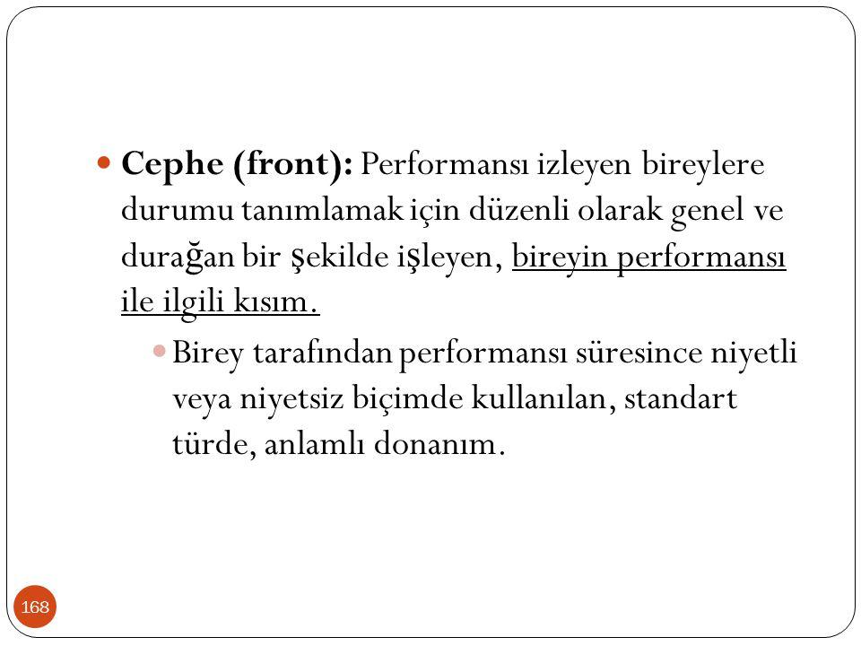 168 Cephe (front): Performansı izleyen bireylere durumu tanımlamak için düzenli olarak genel ve dura ğ an bir ş ekilde i ş leyen, bireyin performansı