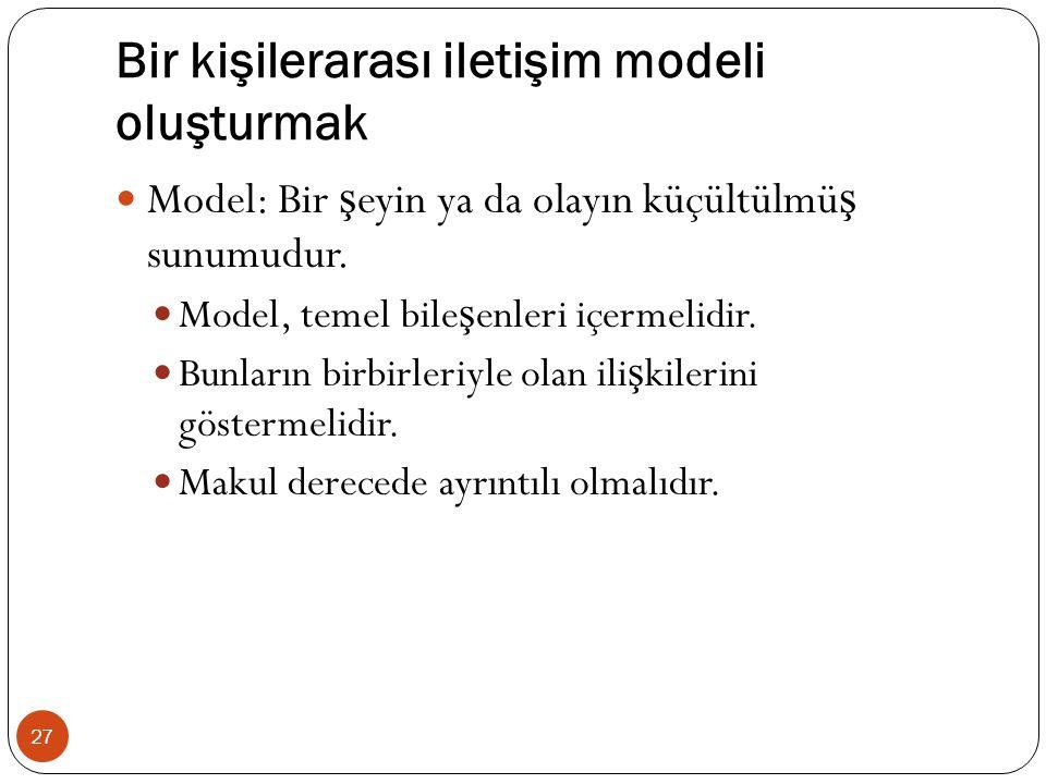 Bir kişilerarası iletişim modeli oluşturmak 27 Model: Bir ş eyin ya da olayın küçültülmü ş sunumudur. Model, temel bile ş enleri içermelidir. Bunların