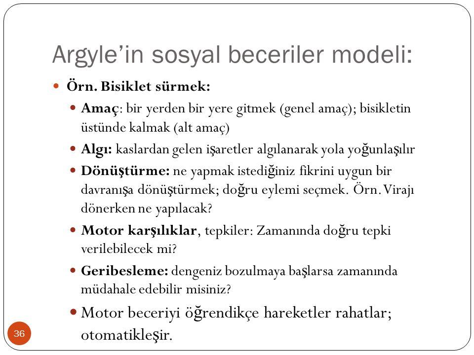 Argyle'in sosyal beceriler modeli: 36 Örn. Bisiklet sürmek: Amaç: bir yerden bir yere gitmek (genel amaç); bisikletin üstünde kalmak (alt amaç) Algı: