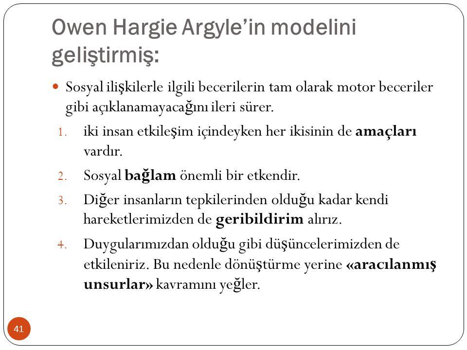 Owen Hargie Argyle'in modelini geliştirmiş: 41 Sosyal ili ş kilerle ilgili becerilerin tam olarak motor beceriler gibi açıklanamayaca ğ ını ileri süre