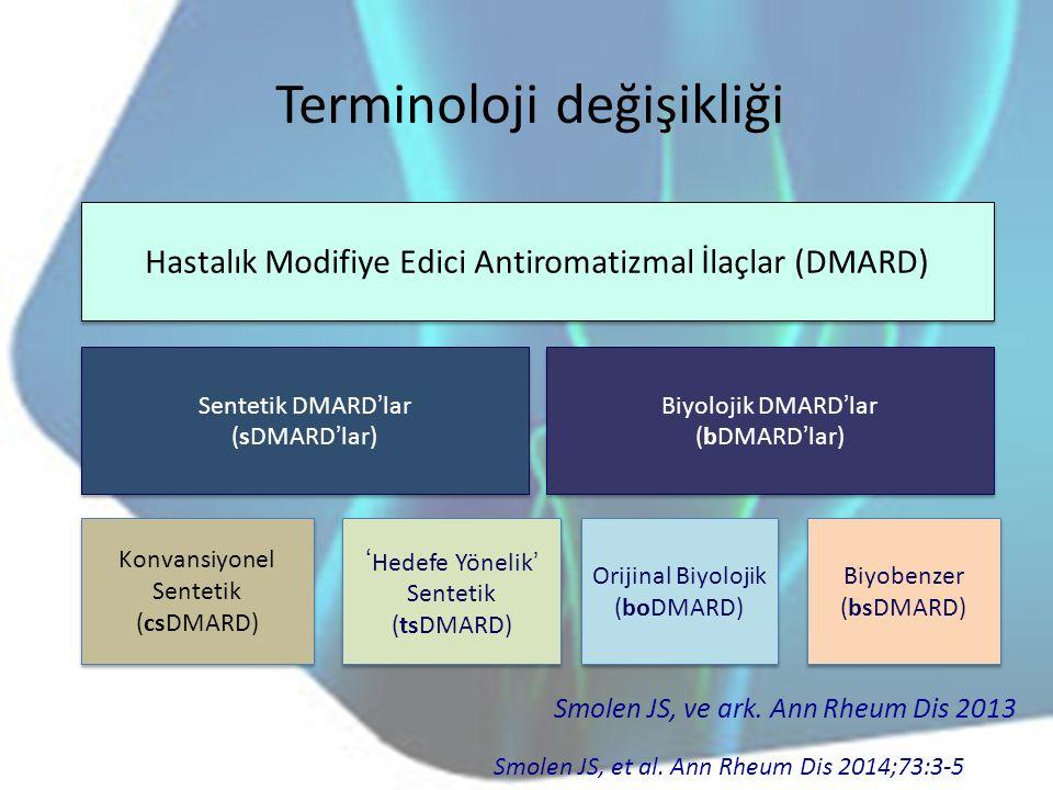 Terminoloji değişikliği Hastalık Modifiye Edici Antiromatizmal İlaçlar (DMARD) Sentetik DMARD'lar (sDMARD'lar) Sentetik DMARD'lar (sDMARD'lar) Biyoloj
