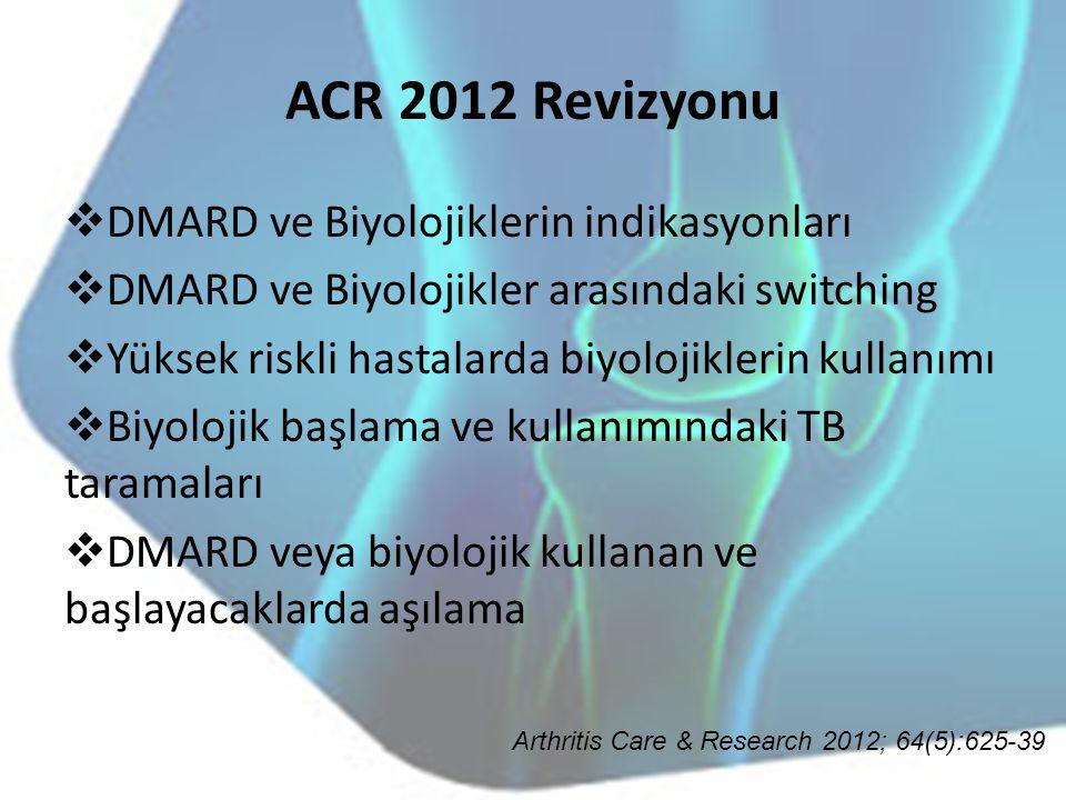 ACR 2012 Revizyonu  DMARD ve Biyolojiklerin indikasyonları  DMARD ve Biyolojikler arasındaki switching  Yüksek riskli hastalarda biyolojiklerin kul