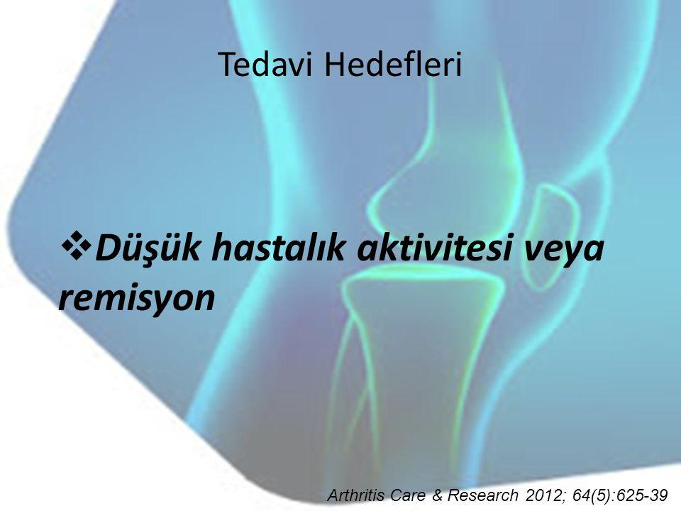 Tedavi Hedefleri  Düşük hastalık aktivitesi veya remisyon Arthritis Care & Research 2012; 64(5):625-39