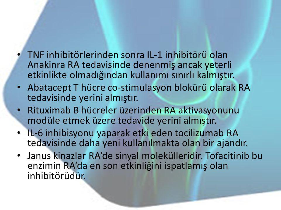TNF inhibitörlerinden sonra IL-1 inhibitörü olan Anakinra RA tedavisinde denenmiş ancak yeterli etkinlikte olmadığından kullanımı sınırlı kalmıştır. A
