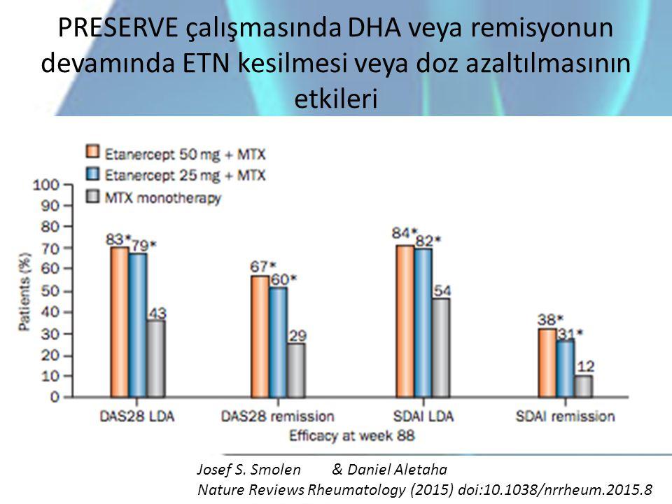 PRESERVE çalışmasında DHA veya remisyonun devamında ETN kesilmesi veya doz azaltılmasının etkileri Josef S. Smolen& Daniel Aletaha Nature Reviews Rheu