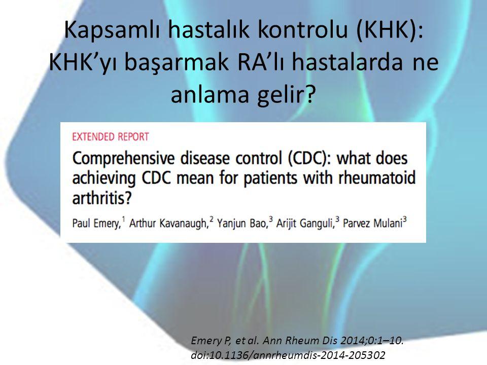 Kapsamlı hastalık kontrolu (KHK): KHK'yı başarmak RA'lı hastalarda ne anlama gelir? Emery P, et al. Ann Rheum Dis 2014;0:1–10. doi:10.1136/annrheumdis