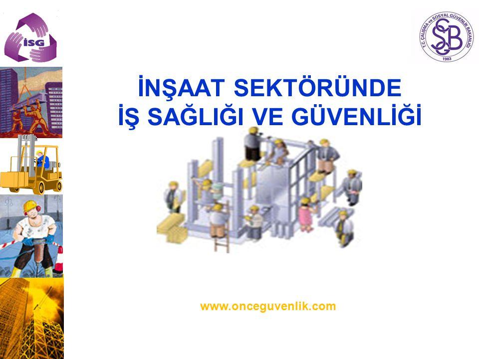 İNŞAAT SEKTÖRÜNDE İŞ SAĞLIĞI VE GÜVENLİĞİ www.onceguvenlik.com İş Sağlığı ve Güvenliği Genel Müdürlüğü Daire Başkanı