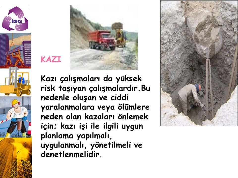 KAZI Kazı çalışmaları da yüksek risk taşıyan çalışmalardır.Bu nedenle oluşan ve ciddi yaralanmalara veya ölümlere neden olan kazaları önlemek için; ka