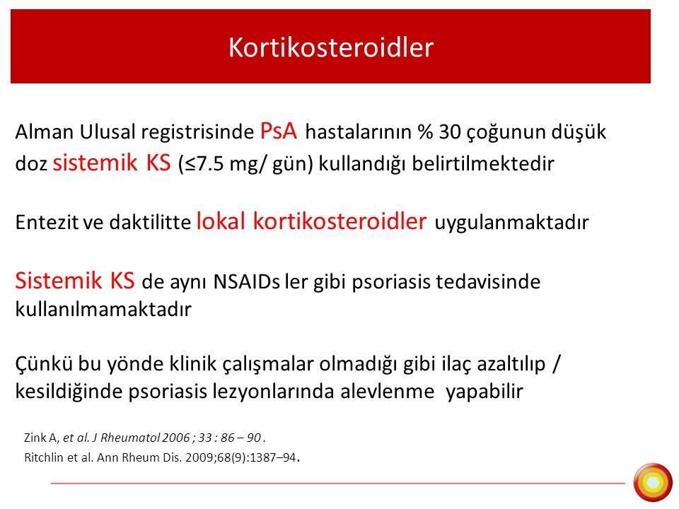 Kortikosteroidler Alman Ulusal registrisinde PsA hastalarının % 30 çoğunun düşük doz sistemik KS (≤7.5 mg/ gün) kullandığı belirtilmektedir Entezit ve