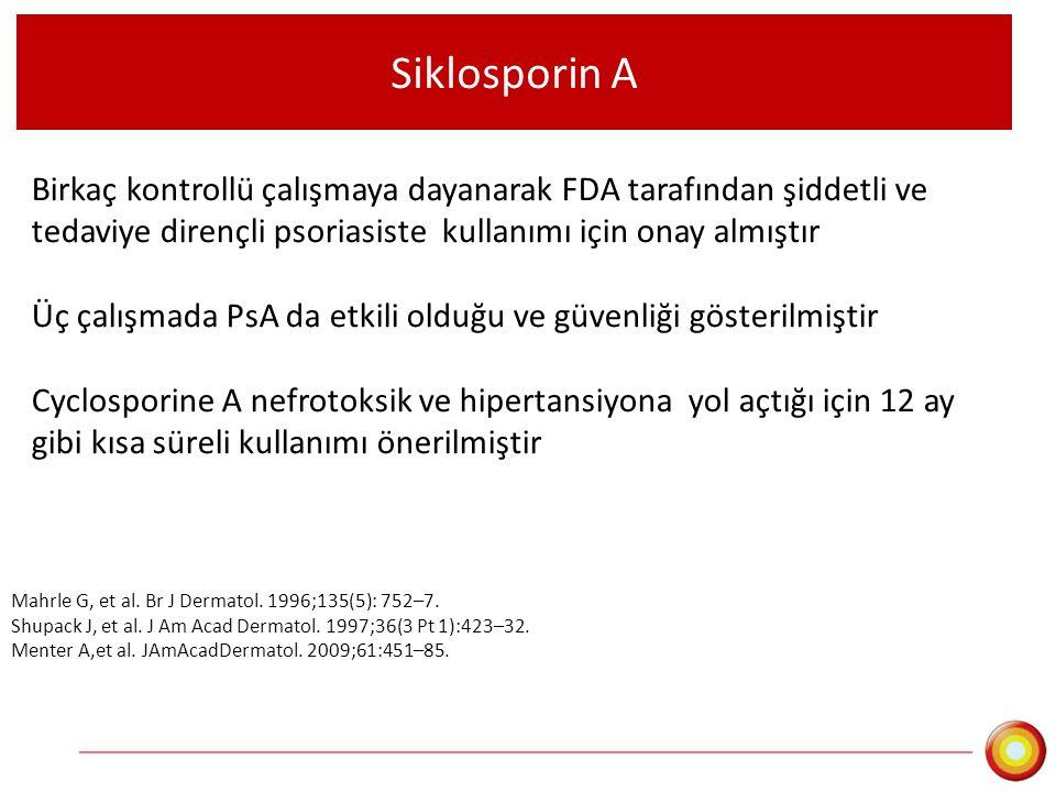 Siklosporin A Birkaç kontrollü çalışmaya dayanarak FDA tarafından şiddetli ve tedaviye dirençli psoriasiste kullanımı için onay almıştır Üç çalışmada