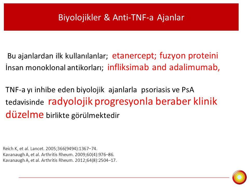 Biyolojikler & Anti-TNF-a Ajanlar Bu ajanlardan ilk kullanılanlar; etanercept; fuzyon proteini İnsan monoklonal antikorları; infliksimab and adalimuma