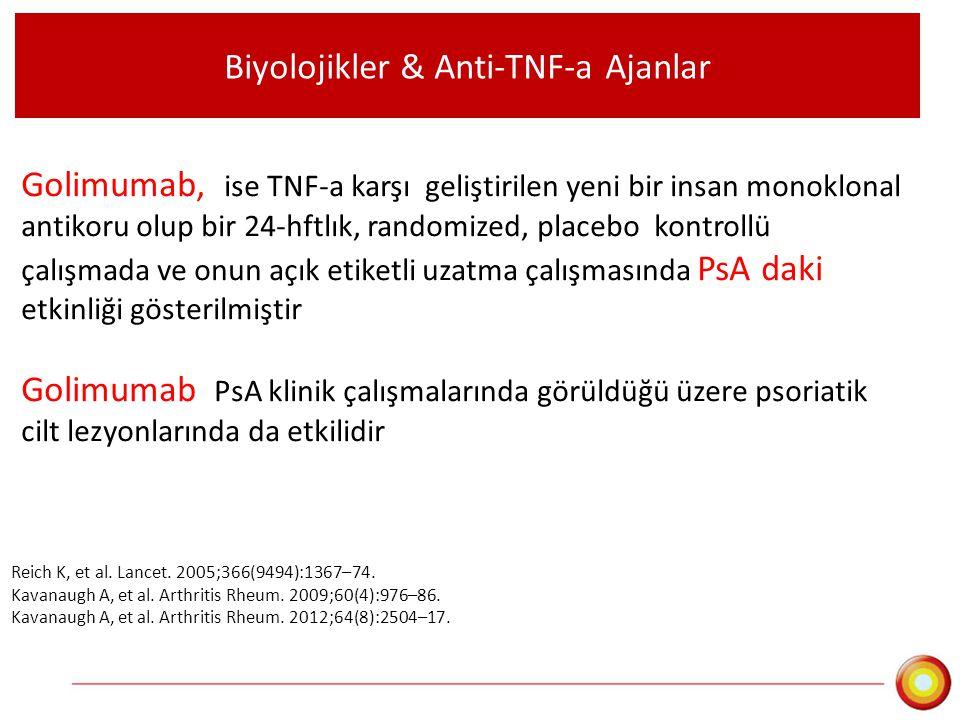 Biyolojikler & Anti-TNF-a Ajanlar Golimumab, ise TNF-a karşı geliştirilen yeni bir insan monoklonal antikoru olup bir 24-hftlık, randomized, placebo k
