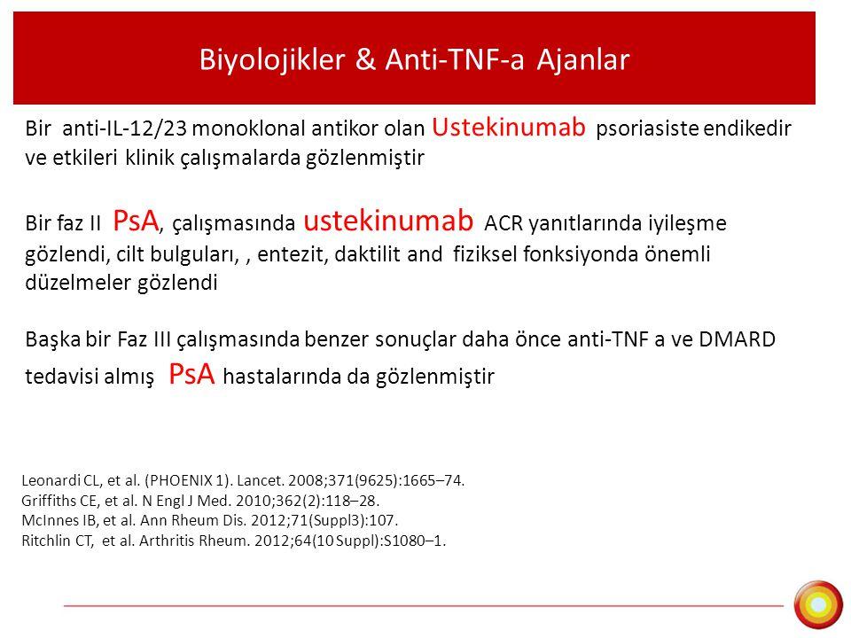 Biyolojikler & Anti-TNF-a Ajanlar Bir anti-IL-12/23 monoklonal antikor olan Ustekinumab psoriasiste endikedir ve etkileri klinik çalışmalarda gözlenmi