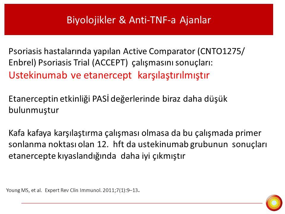 Biyolojikler & Anti-TNF-a Ajanlar Psoriasis hastalarında yapılan Active Comparator (CNTO1275/ Enbrel) Psoriasis Trial (ACCEPT) çalışmasını sonuçları: