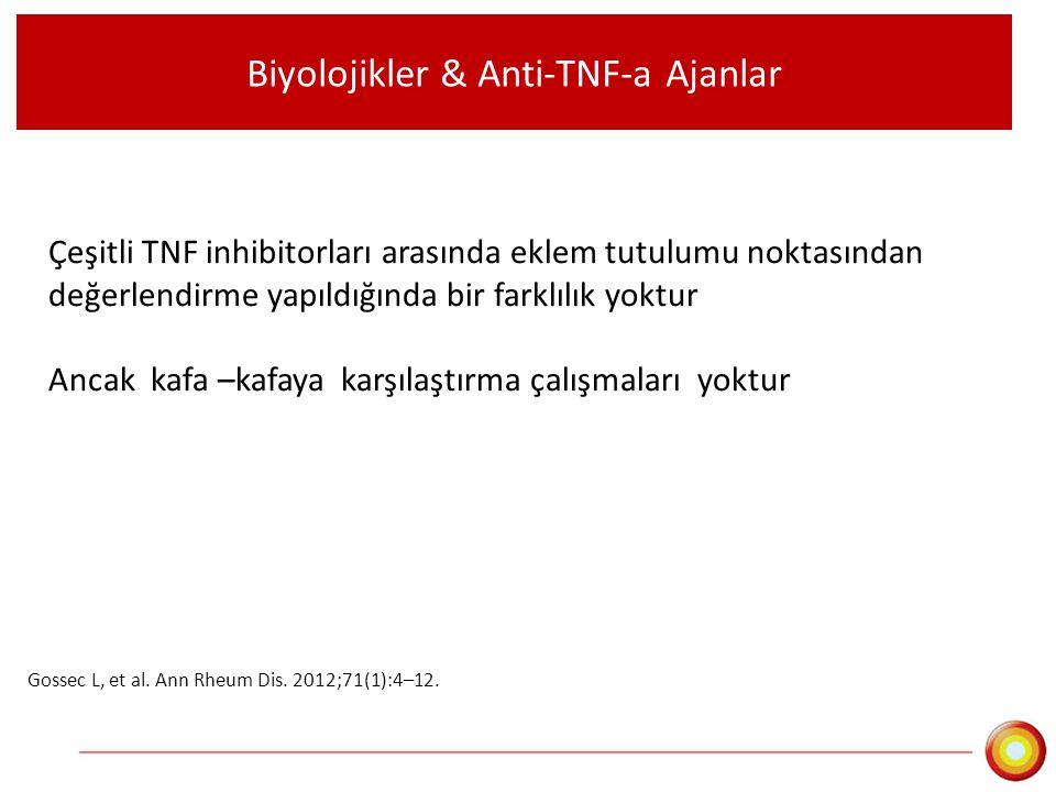 Biyolojikler & Anti-TNF-a Ajanlar Çeşitli TNF inhibitorları arasında eklem tutulumu noktasından değerlendirme yapıldığında bir farklılık yoktur Ancak