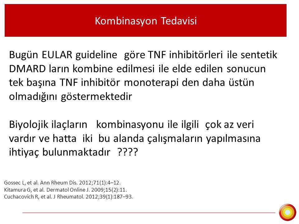 Kombinasyon Tedavisi Bugün EULAR guideline göre TNF inhibitörleri ile sentetik DMARD ların kombine edilmesi ile elde edilen sonucun tek başına TNF inh