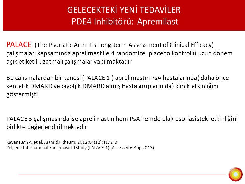 GELECEKTEKİ YENİ TEDAVİLER PDE4 Inhibitörü: Apremilast PALACE (The Psoriatic Arthritis Long-term Assessment of Clinical Efficacy) çalışmaları kapsamın