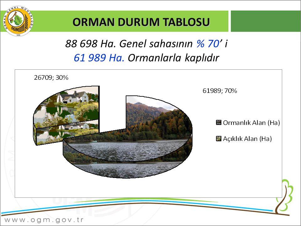 ORMAN DURUM TABLOSU 88 698 Ha. Genel sahasının % 70' i 61 989 Ha. Ormanlarla kaplıdır