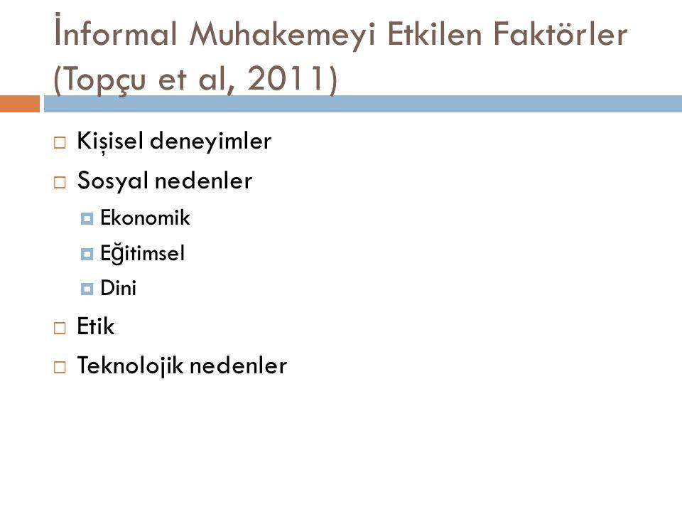 İ nformal Muhakemeyi Etkilen Faktörler (Topçu et al, 2011)  Kişisel deneyimler  Sosyal nedenler  Ekonomik  E ğ itimsel  Dini  Etik  Teknolojik nedenler