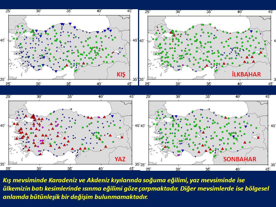 KIŞİLKBAHAR YAZSONBAHAR Kış mevsiminde Karadeniz ve Akdeniz kıyılarında soğuma eğilimi, yaz mevsiminde ise ülkemizin batı kesimlerinde ısınma eğilimi
