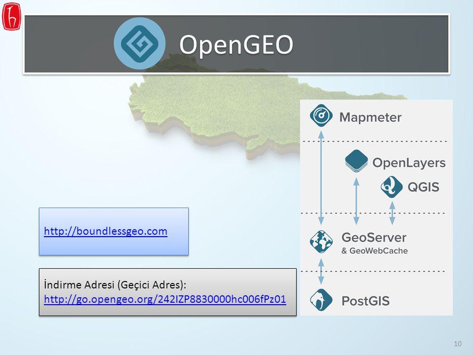 OpenGEO http://boundlessgeo.com İndirme Adresi (Geçici Adres): http://go.opengeo.org/242IZP8830000hc006fPz01 http://go.opengeo.org/242IZP8830000hc006f